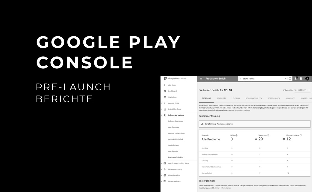 let's dev Blog | Google Play Console: Pre-Launch Berichte