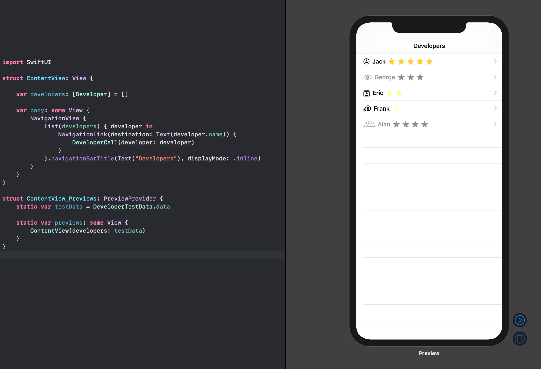 SwiftUI developer content view