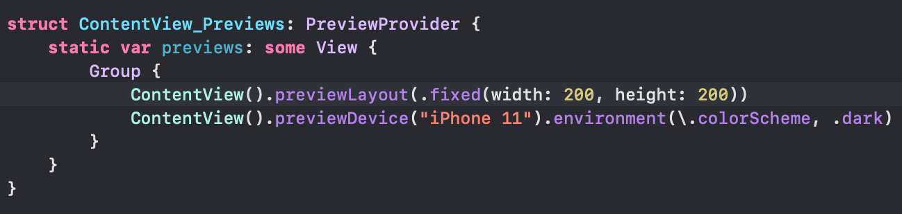 SwiftUI preview code
