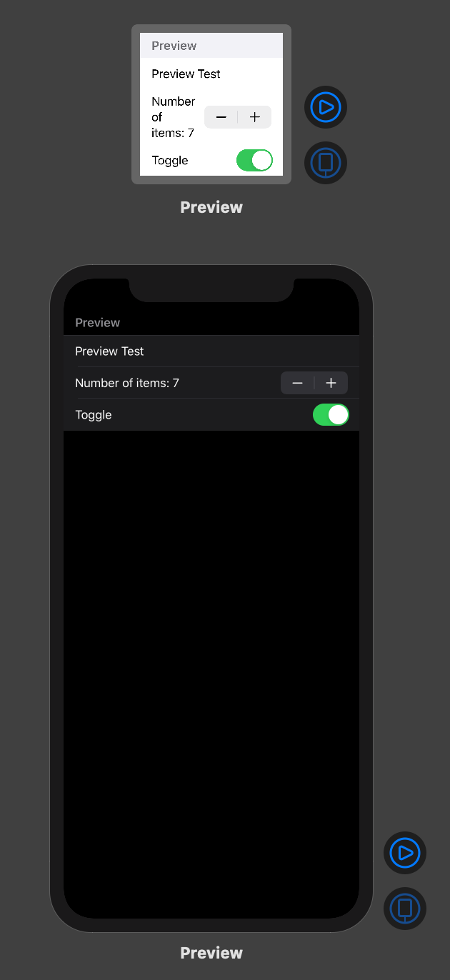 SwiftUI preview visuals