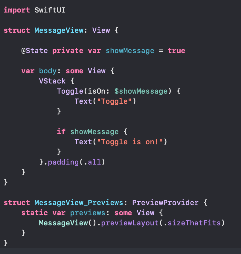 SwiftUI state code